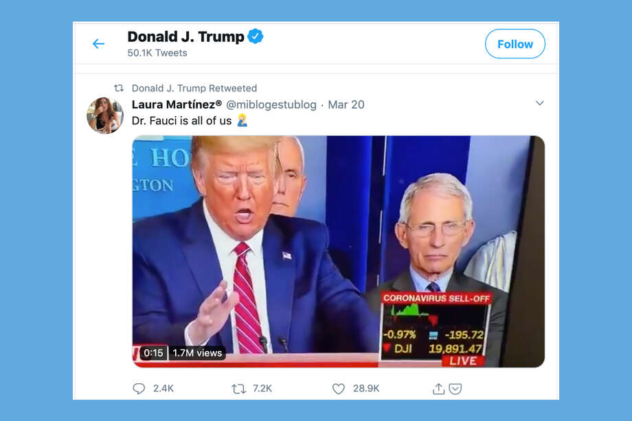 President Donald Trump retweeted a meme that appears to be making fun of him on March 24, 2020. Photo: Twitter