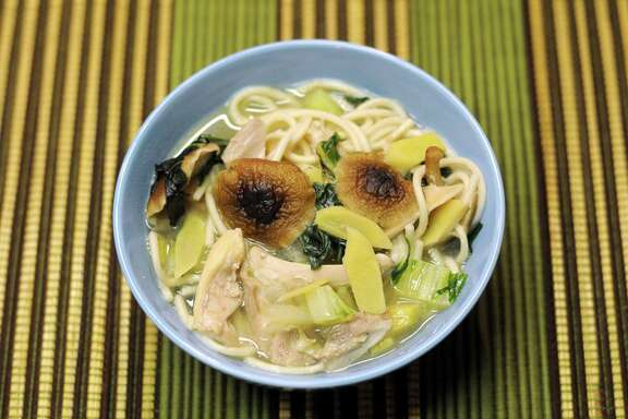 Simple Chicken Noodle Soup with Mushrooms, Ginger and Bok Choy