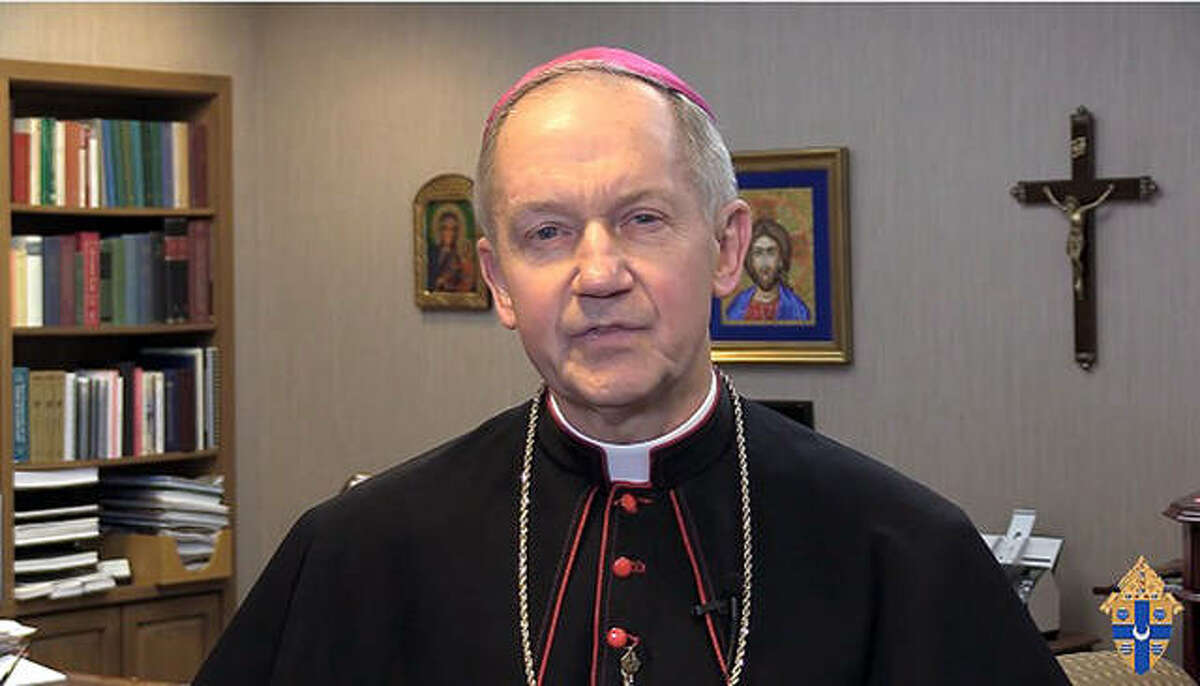 A screen grab of Bishop Thomas John Paprocki from a recent video on the Springfield Archdiocese website. Area churches have converted to using video and social media to communicate with their flocks amid the pandemic.