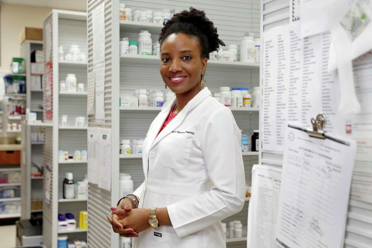 Independent pharmacy owner Dr. Marie Ekpema at her Summerwood Pharmacy Wednesday, Jan. 29, 2020 in northeast Houston, TX. Her business specializes in natural hormone replacement and extensive knowledge in vitamins and supplements.