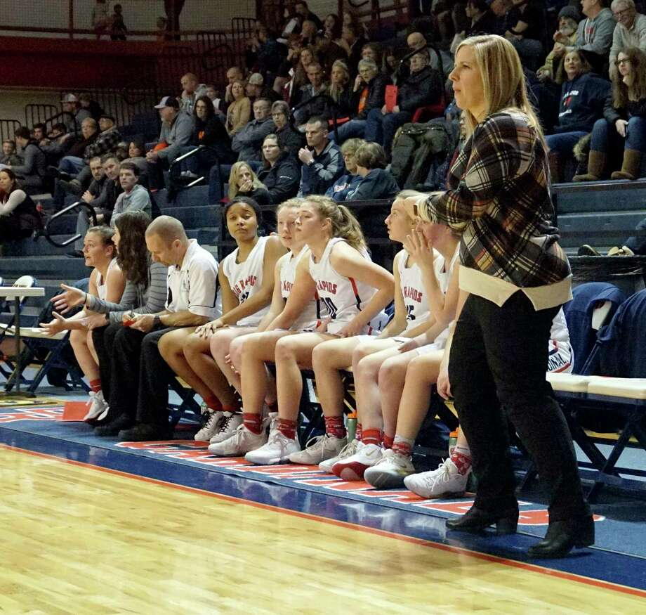 Big Rapids girls' basketball coach Jessica Haist coached her team to a share of the CSAA Gold championship during the 2019-20 season. (Pioneer file photo/Joe Judd)