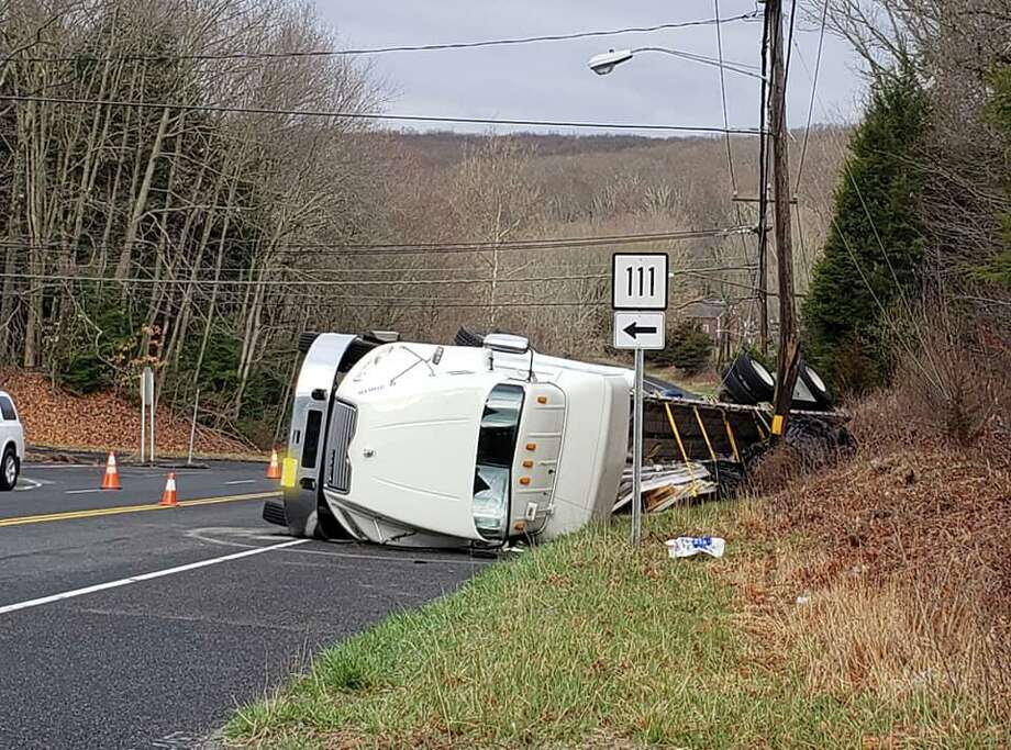 A rollover near the Route 34 and Route 111 intersection in Monroe, Conn., on Tuesday, March 24, 2020. Photo: Contributed Photo / Stevenson Volunteer Fire Company