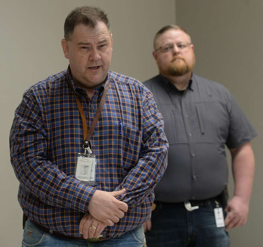 Representatives from multiple Southeast Texas counties annnounce the opening of a drive-thru testing unit for COVID-19 at Jack Brooks Regional Airport Monday. Photo taken Monday, March 23, 2020 Kim Brent/The Enterprise Photo: Kim Brent/The Enterprise