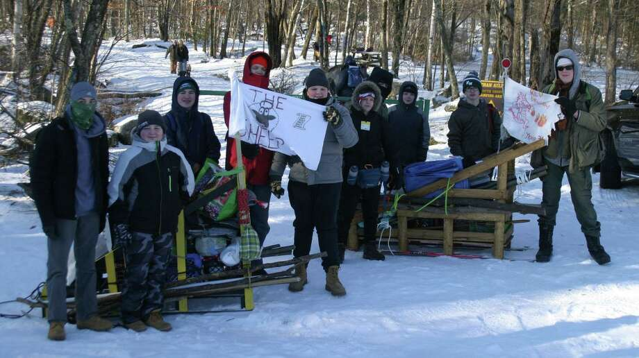 Scouts from New Milford Boy Scout Troop 31, from left to right, Chris Gardner, Aidan Coffey, PJ Passero, Malachi Caldwell, Ben Agnor, Nicky Blaine, Daniel Vrba, Thomas Setear, James Galbraith and Zachary Caldwell are shown during the February event. Photo: Courtesy Of Becky Passero / The News-Times Contributed