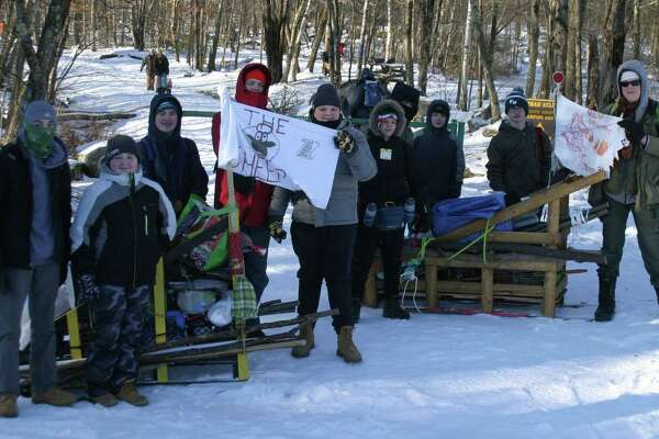 Scouts from New Milford Boy Scout Troop 31, from left to right, Chris Gardner, Aidan Coffey, PJ Passero, Malachi Caldwell, Ben Agnor, Nicky Blaine, Daniel Vrba, Thomas Setear, James Galbraith and Zachary Caldwell are shown during the February event.