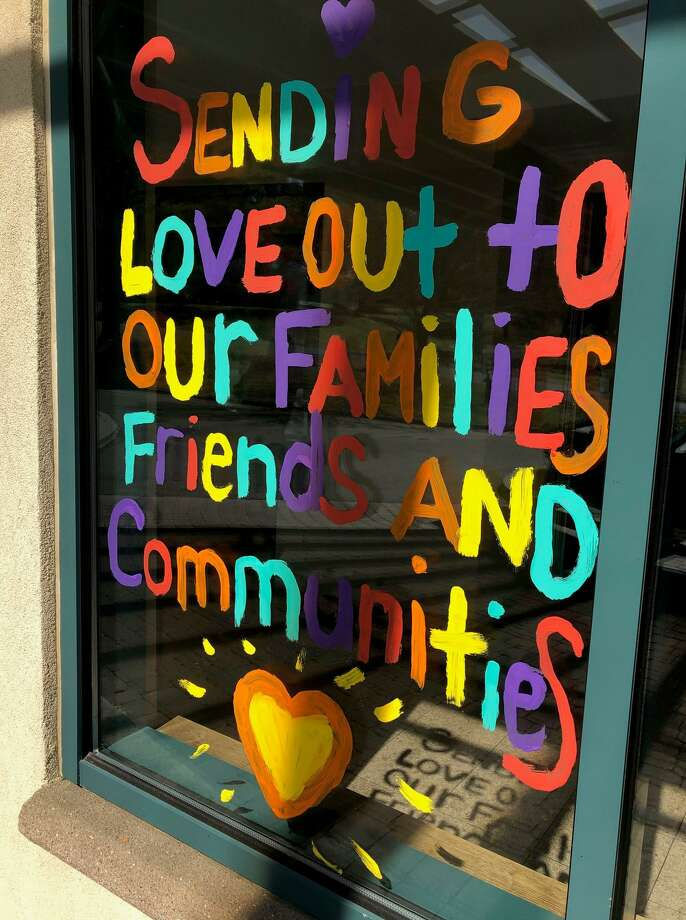 The staff and residents at Candlewood Valley Health & Rehabilitation in New Milford painted this cheery message on one of their windows, wishing residents' loved ones well during the coronavirus pandemic. Photo: Courtesy Of Candlewood Valley Health & Rehabilitation