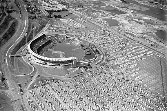 Aerial views of Opening Day at Candlestick Park April 12, 1960. The parking lot was nearly full as were would be a full house.