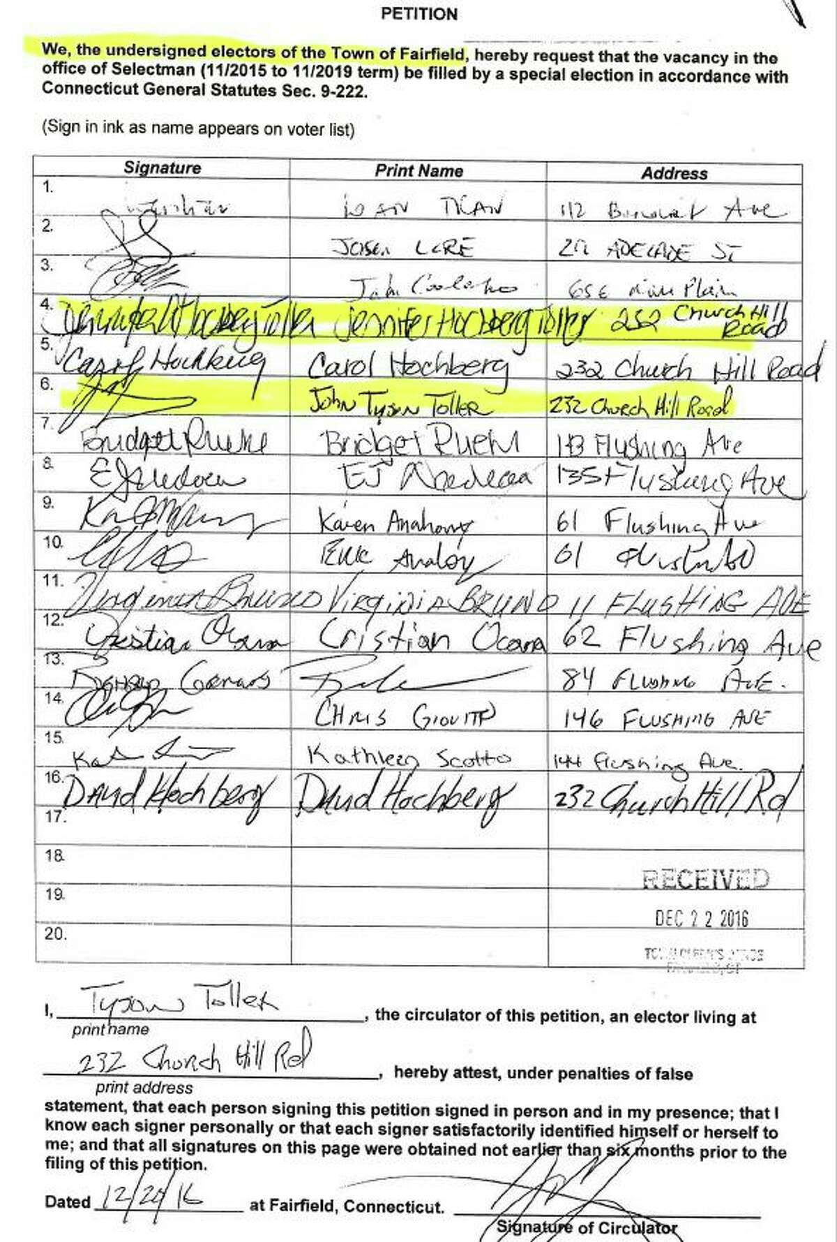 A petition form seeking a special election signed by both Jennifer Hochberg-Toller, and her husband John Tyson Toller, listing their address as 232 Church Hil Road in Fairfield. The couple had apparently moved out of town months earlier. John Tyson Toller also solicited signatures for the petition drive. Fairfield,CT. 11/1/17
