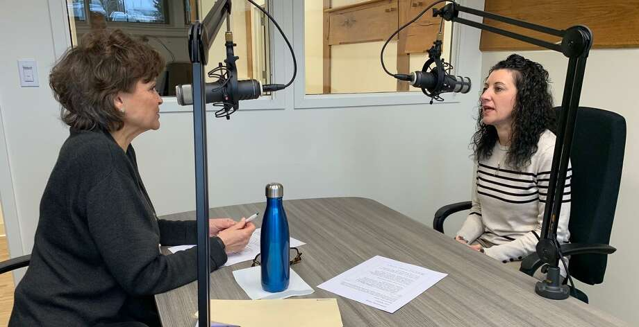 "Host Cindy Graziano discusses building' resilience in young people with Ellen Brezovsky, a licensed social worker and the executive director of New Canaan CARES, on the current edition of the ""Talking About It"" podcast. Photo: Talking About It / Contributed Photo / New Canaan Advertiser Contributed"
