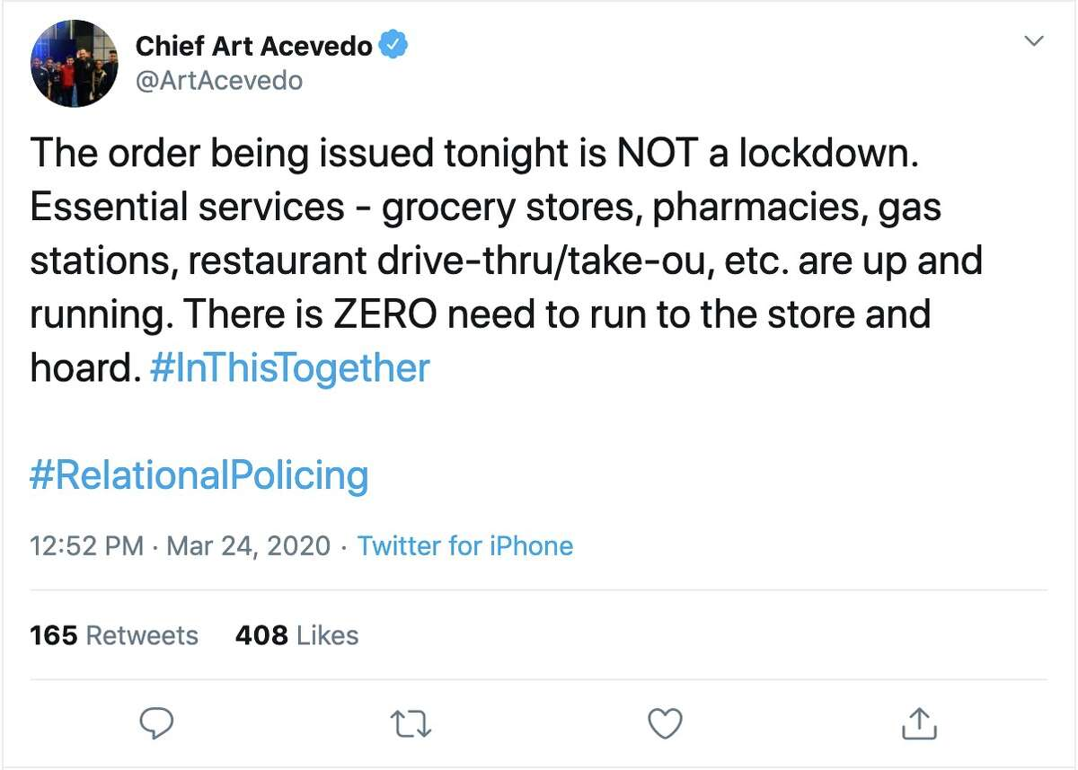 @ArtAcevedoon Twitter:The order being issued tonight is NOT a lockdown. Essential services - grocery stores, pharmacies, gas stations, restaurant drive-thru/take-ou, etc. are up and running. There is ZERO need to run to the store and hoard. #InThisTogether#RelationalPolicing