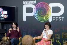 "Actors Karen Kilgariff, left, and Georgia Hardstark record onstage during the ""My Favorite Murder"" podcast at Entertainment Weekly's PopFest at The Reef in 2016 in Los Angeles."