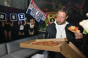 David Portnoy of Barstool Sports, who has visited John & Maria's in East Haven and Zuppardi's in West Haven, is seen at Harrah's Resort in Atlantic City, New Jersey, last year.