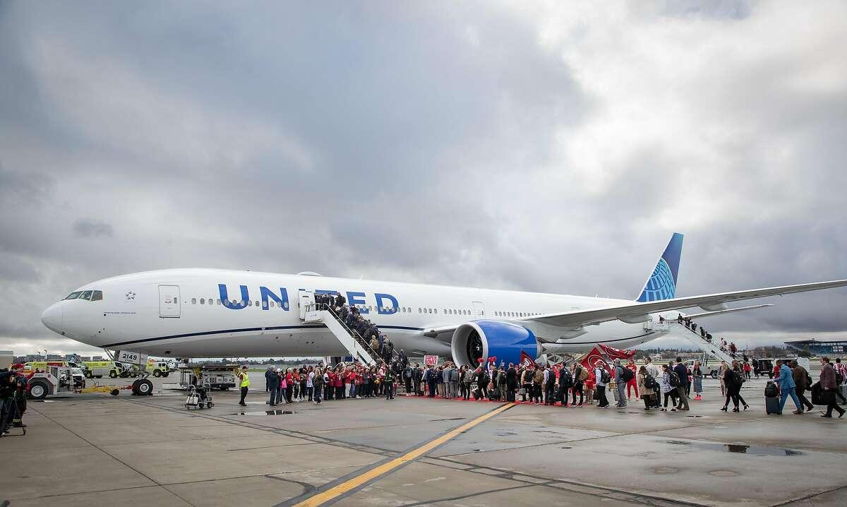 The San Francisco 49ers depart on a chartered flight from Mineta San Jose International Airport Sunday, Jan. 26, 2020 in San Jose, Calif.