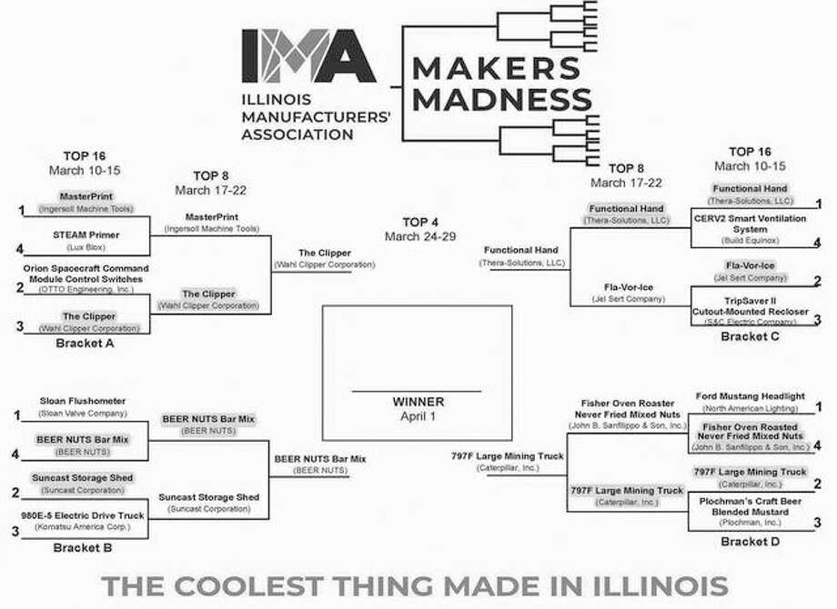 "Voting is now open in the final round of the inaugural ""Makers Madness"" contest, a bracket-style tournament hosted by the Illinois Manufacturers' Association to determine ""The Coolest Thing Made in Illinois."" Photo: Courtesy Of IMA