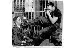 Ralph JeromevonBraunSelz jokes around with photographers at the San Mateo County jail.
