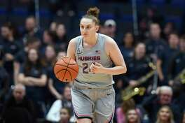 Connecticut's Anna Makurat in the first half of an NCAA college basketball game, Thursday, Jan. 2, 2020, in Hartford, Conn. (AP Photo/Jessica Hill)