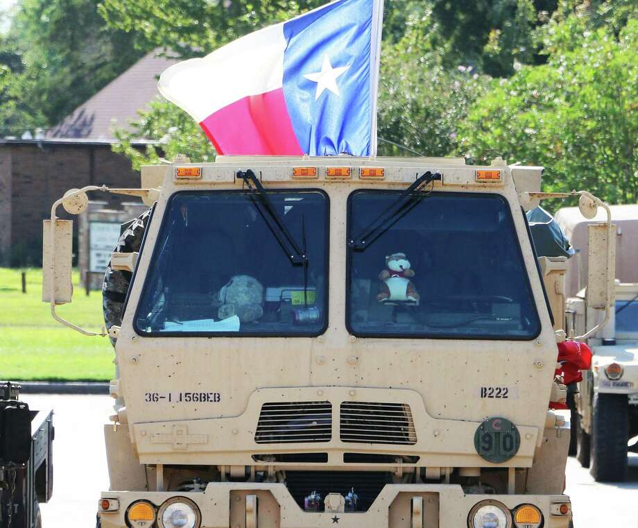 This military vehicle, a part of the Texas National Guard 636th Brigade Support Battalion fleet, was clearly Texan flying the Lone Star in the back but in plain view during Hurricane Harvey recovery in Dayton in 2017. Photo: David Taylor / Staff Photo