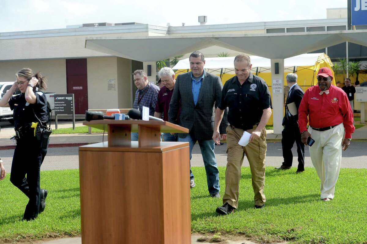 as represnetatives from multiple Southeast Texas counties annnounce the opening of a drive-thru testing unit for COVID-19 at Jack Brooks Regional Airport Monday. Photo taken Monday, March 23, 2020 Kim Brent/The Enterprise