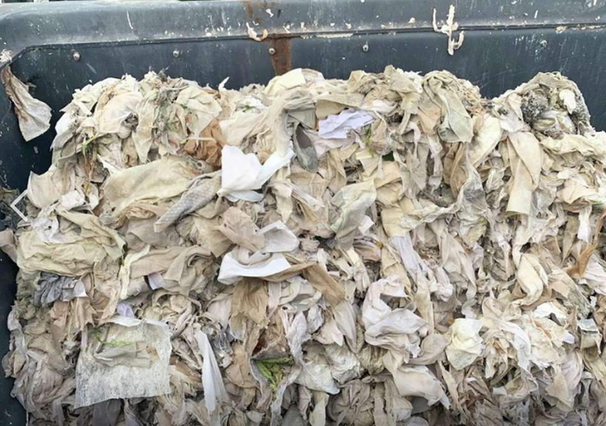The Napa Sanitation District said Monday that these wet wipes were caught by a single screen at the district's pumping station in Napa. (They are shown after they were washed.) District officials are asking residents not to flush wipes and other toilet-paper subsitutes down toilets.