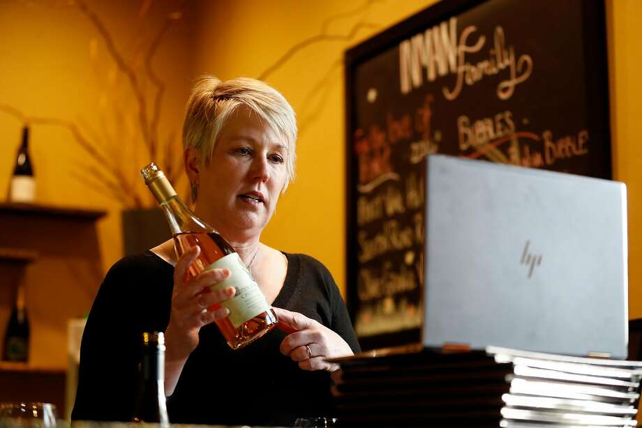 Kathleen Inman of Inman Family Wines holds a virtual wine tasting at her winery in Santa Rosa. Photo: Scott Strazzante / The Chronicle