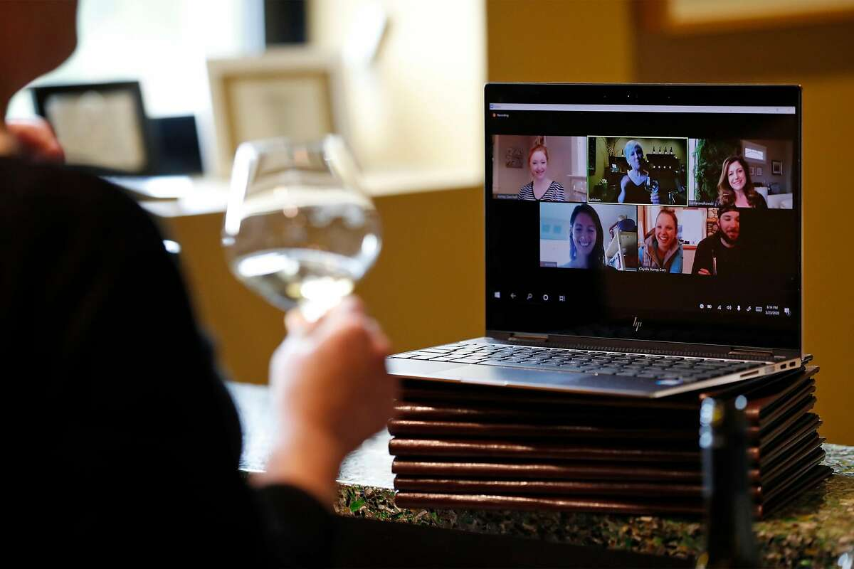 Kathleen Inman of Inman Family Wines holds a virtual wine tasting at her winery in Santa Rosa, Calif., on Monday, March 23, 2020.