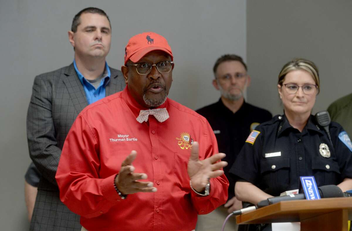 Port Arthur Mayor Thurman artie addresses a question as representatives from multiple Southeast Texas counties annnounce the opening of a drive-thru testing unit for COVID-19 at Jack Brooks Regional Airport Monday. Photo taken Monday, March 23, 2020 Kim Brent/The Enterprise