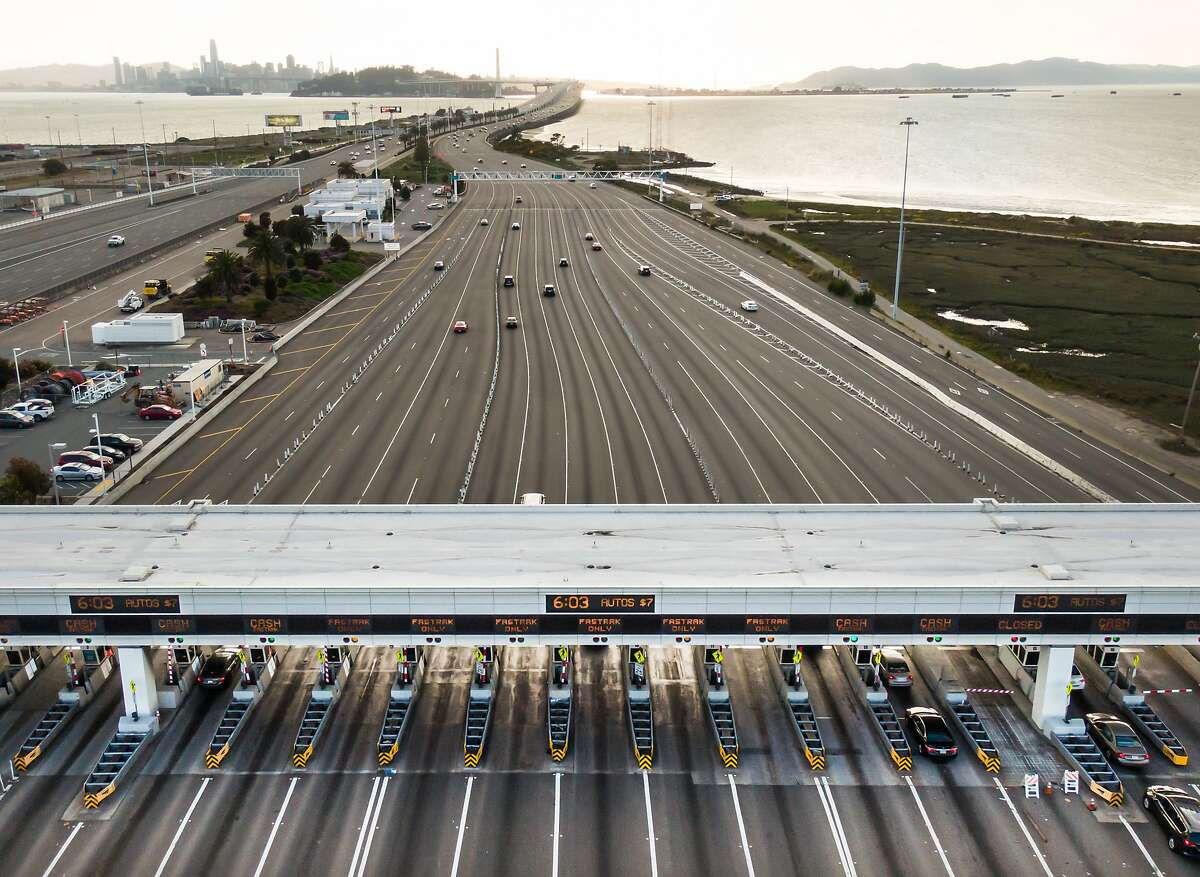 San Francisco-Oakland Bay bridge Toll Plaza had little traffic in the evening on March 19, 2020 in San Francisco, Calif.