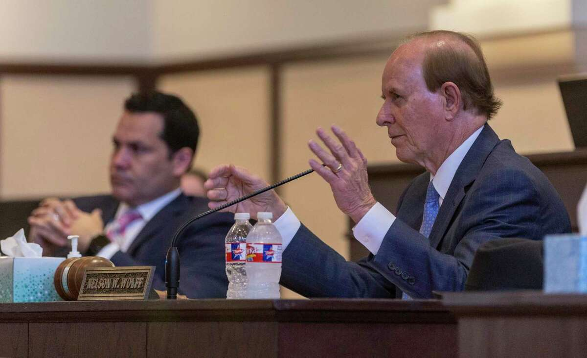 """Bexar County Judge Nelson Wolff and the other members of Commissioners Court passed a resolution Thursday, May 14, 2020, supporting access to mail-in ballots for voters who perceive a """"risk to health"""" posed by COVID-19 if they vote in person."""