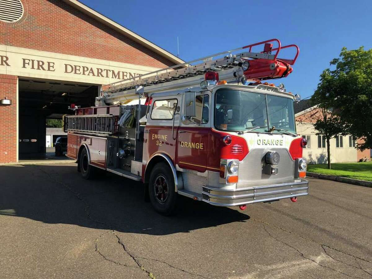 File photo of a fire engine at Orange Fire Department in Orange, Conn.