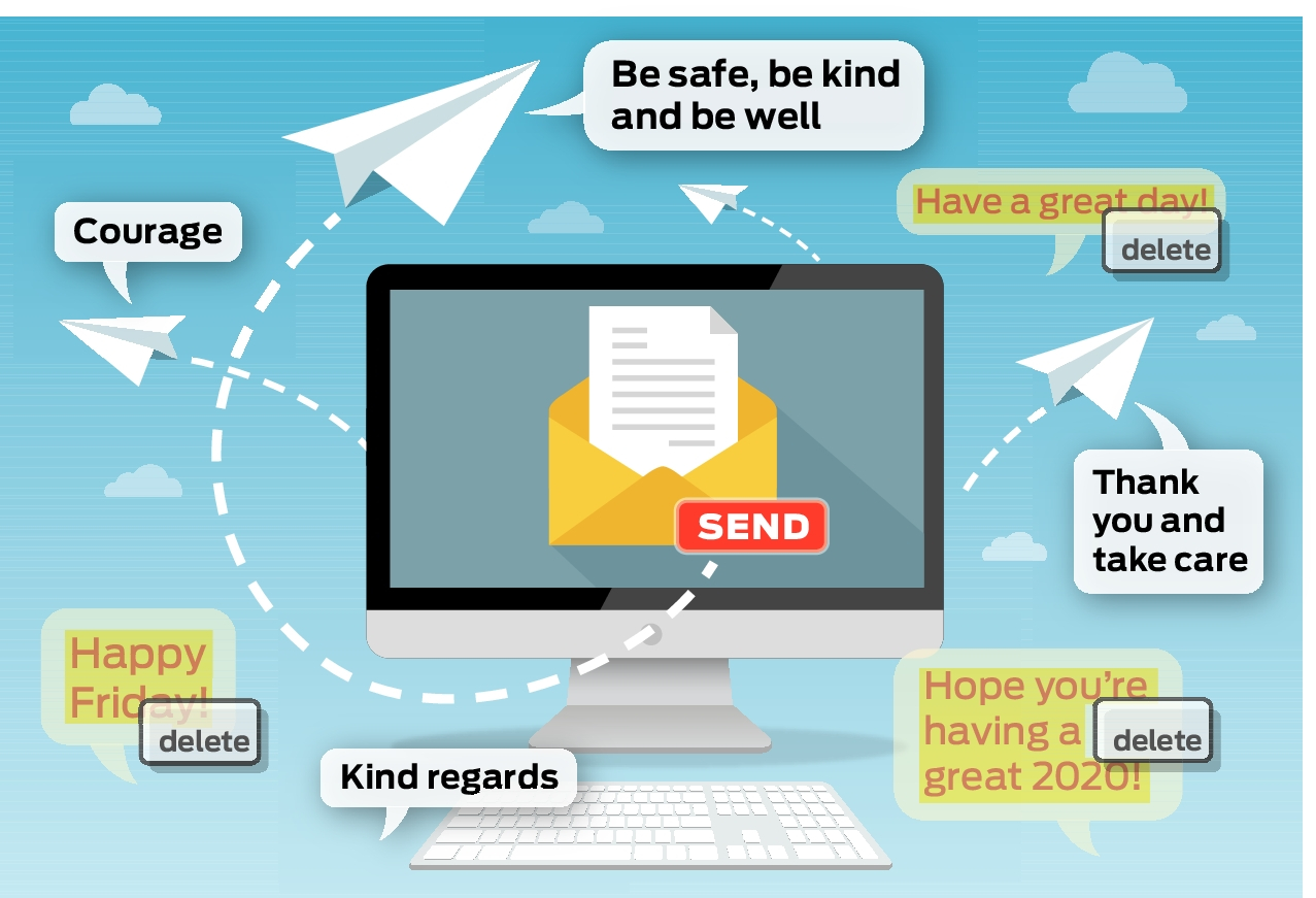 Take care and be safe : Rewriting email etiquette in our new coronavirus reality