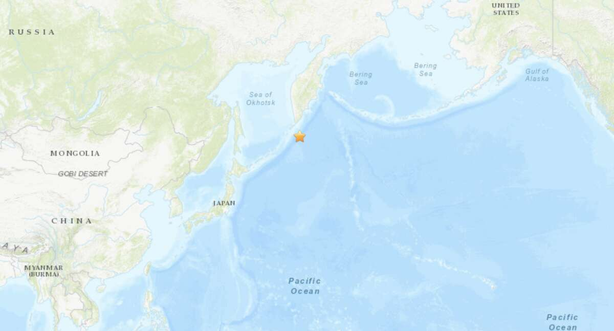 The quake struck at 7:49 p.m. near the Kuril Islands in the Pacific south of Russia and north of Japan.