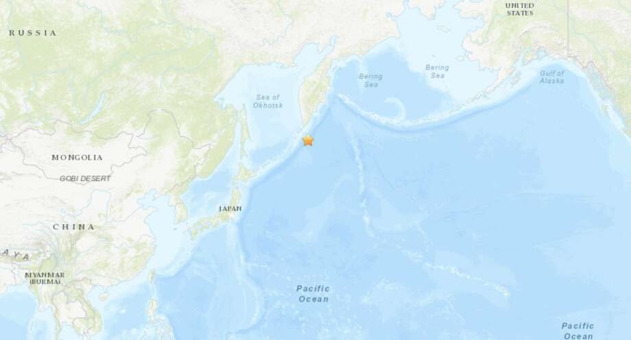 The quake struck at 7:49 p.m. near the Kuril Islands in the Pacific south of Russia and north of Japan. Photo: USGS