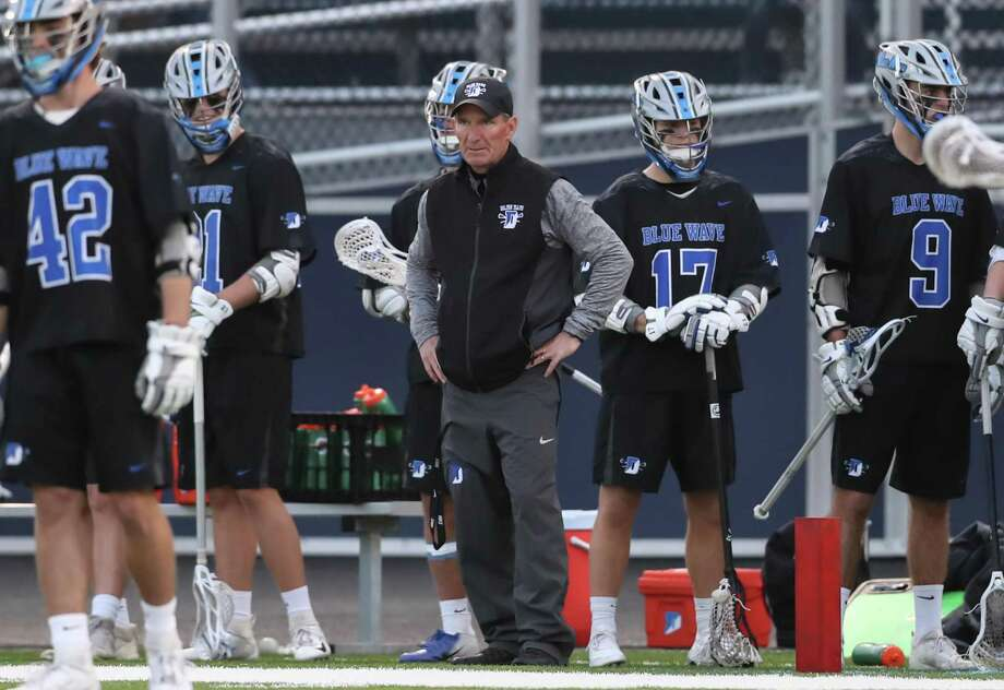 Darien Head Coach Jeff Brameier watches the game play during a game between Darien Boys Varsity Lacrosse and Wilton Boys Varsity Lacrosse on April 18, 2019 at Wilton High School in Wilton, CT. Photo: John McCreary / For Hearst Connecticut Media / Connecticut Post Freelance