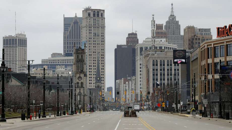 Woodward Avenue is shown nearly empty Tuesday, March 24, 2020, in Detroit. Gov. Gretchen Whitmer told Michigan residents to stay at home beginning Tuesday, in her most sweeping order of the coronavirus crisis. Photo: AP Photo/Paul Sancya / Copyright 2020 The Associated Press. All rights reserved