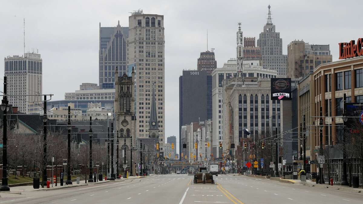 Woodward Avenue is shown nearly empty Tuesday, March 24, 2020, in Detroit. Gov. Gretchen Whitmer told Michigan residents to stay at home beginning Tuesday, in her most sweeping order of the coronavirus crisis.