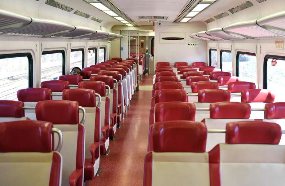 A Metro-North train car is nearly empty on the route between Greenwich and Stamford on Tuesday, March 24, 2020. Photo: Tyler Sizemore / Hearst Connecticut Media / Greenwich Time