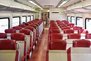 A Metro-North train car is nearly empty on the route between Greenwich and Stamford on Tuesday, March 24, 2020.