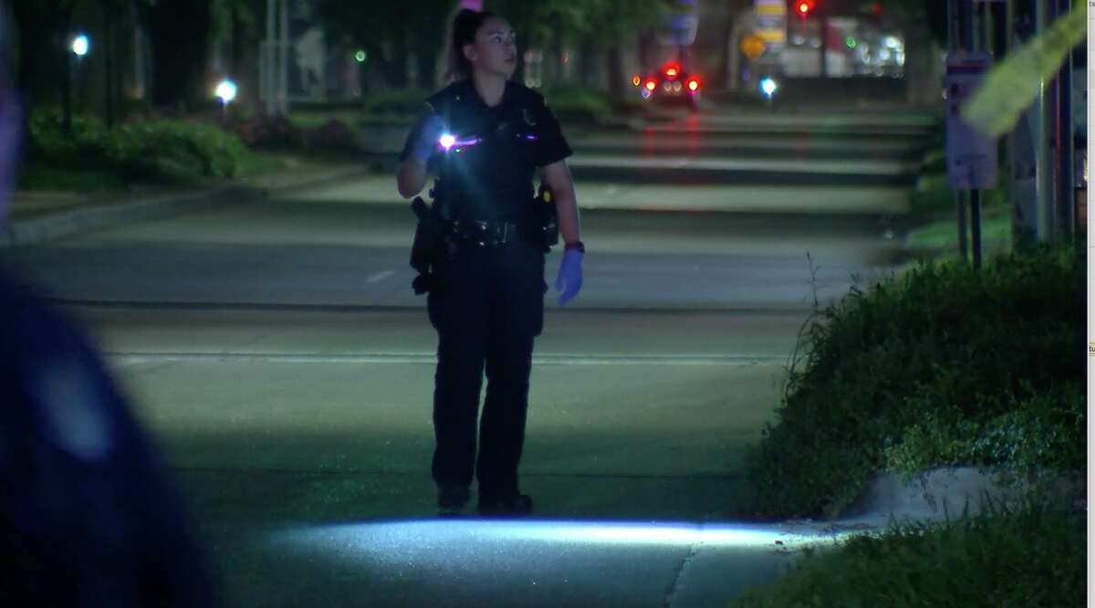 Houston police investigate after a 7-year-old girl was shot in the 8500 block of Broadway on Tuesday, March 23, 2020.