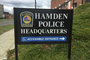 The sign at the Hamden Police Department.