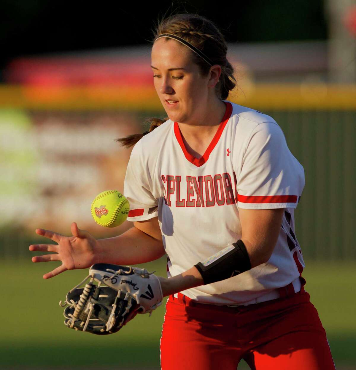 Splendora's Gracie Bumpurs is seen during a game in 2019.