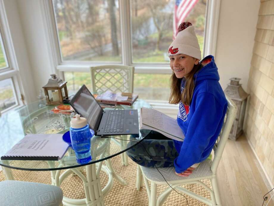 New Canaan Public School students are elearning from home via the internet, and distance learning during the coronavirus pandemic. Photo: Contributed Photo