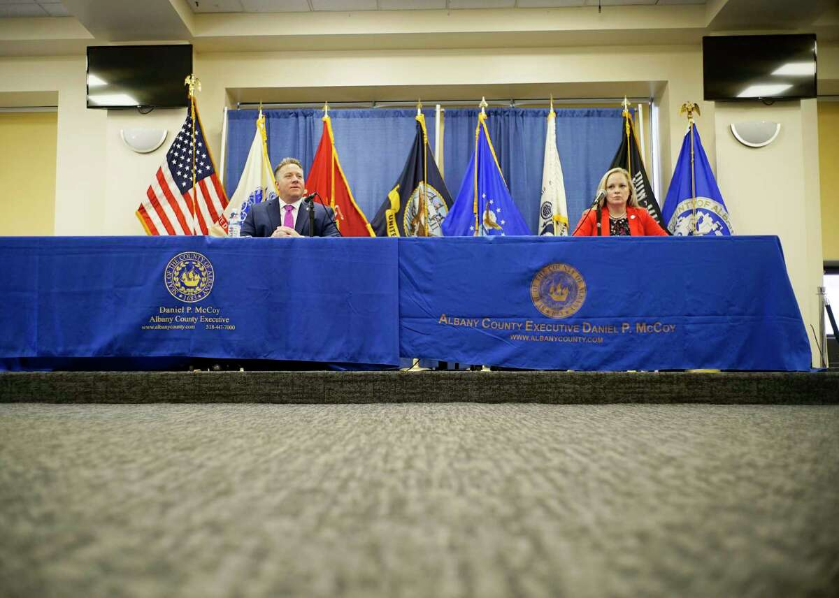 Albany County Executive Dan McCoy, left, and Albany County Department of Health Commissioner Dr. Elizabeth Whalen, hold a press conference to discuss COVID-19 cases in the county on Wednesday, March 25, 2020, in Albany, N.Y. (Paul Buckowski/Times Union)