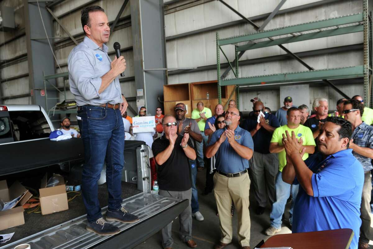 Bridgeport Mayor Joe Ganim speaks to a group of labor union members in 2018. The city is re-opening some of its permitting offices by appointment to help keep building projects moving.