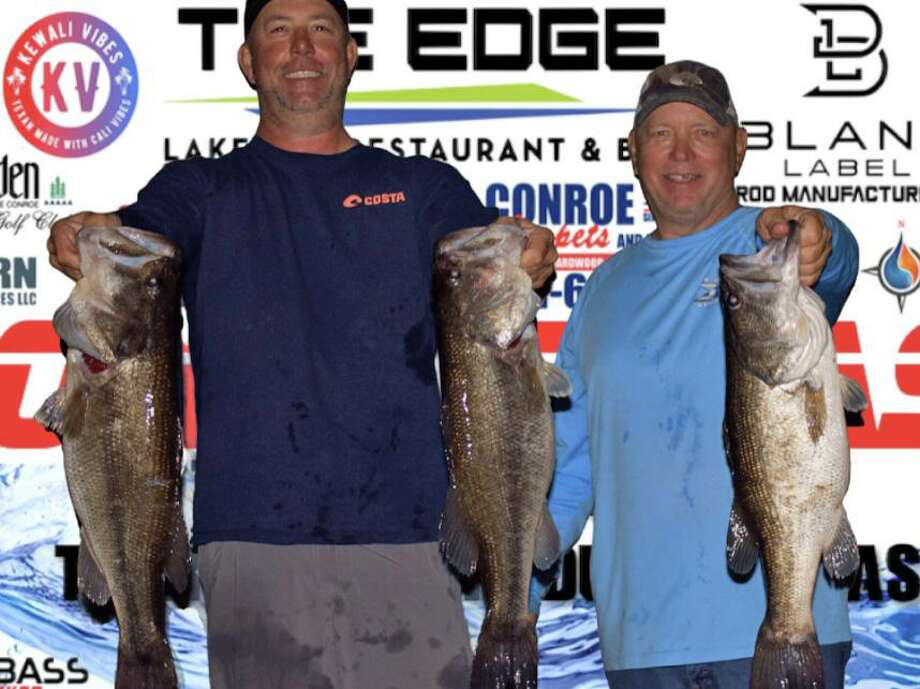 Russell Cecil and David Bozarth won the CONROEBASS Tuesday night tournament with a stringer weight of 23.08 pounds. Photo: CONROEBASS