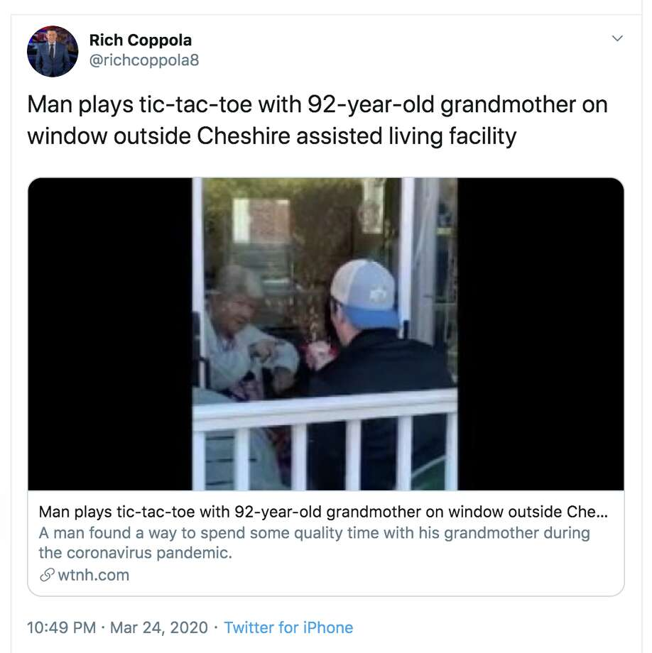 Wallingford resident Erik Nisson put a smile on his 92-year-old grandmother's face by playing games with her through the window of a Cheshire living facility, according to WTNH. Photo: Twitter