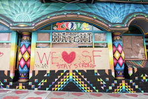 A positive message posted on boarded-up Love on Haight shop.  Tuesday, March 24, 2020.