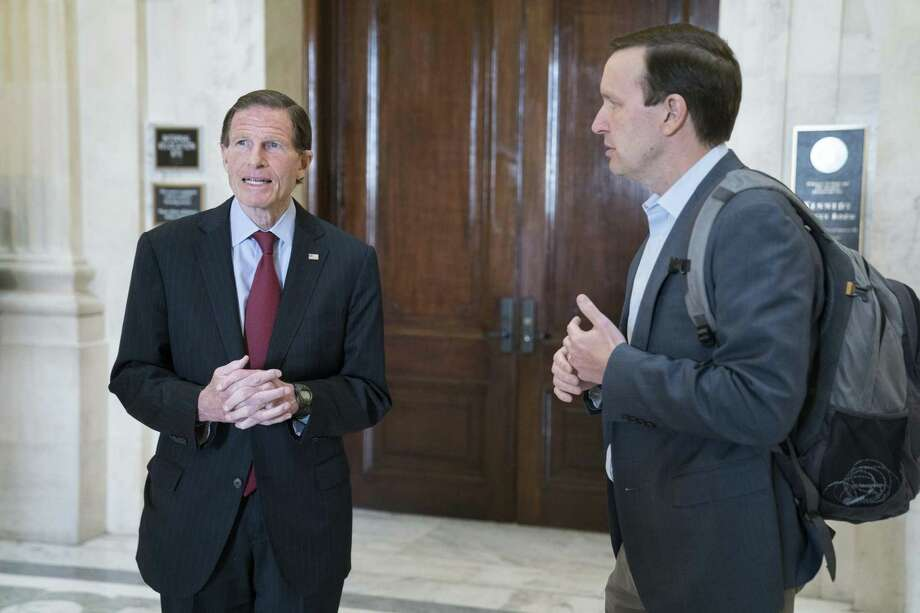 Senators Richard Blumenthal, left, and Chris Murphy, Democrats from Connecticut, depart from a Democratic caucus meeting in the Russell Senate Office Building in Washington, D.C., U.S., on Sunday, March 22. Photo: Sarah Silbiger / Bloomberg / © 2020 Bloomberg Finance LP