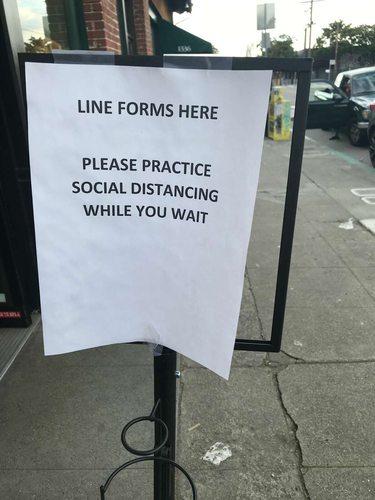 The beginning of the line outside Natural Grocery in Berkeley requests