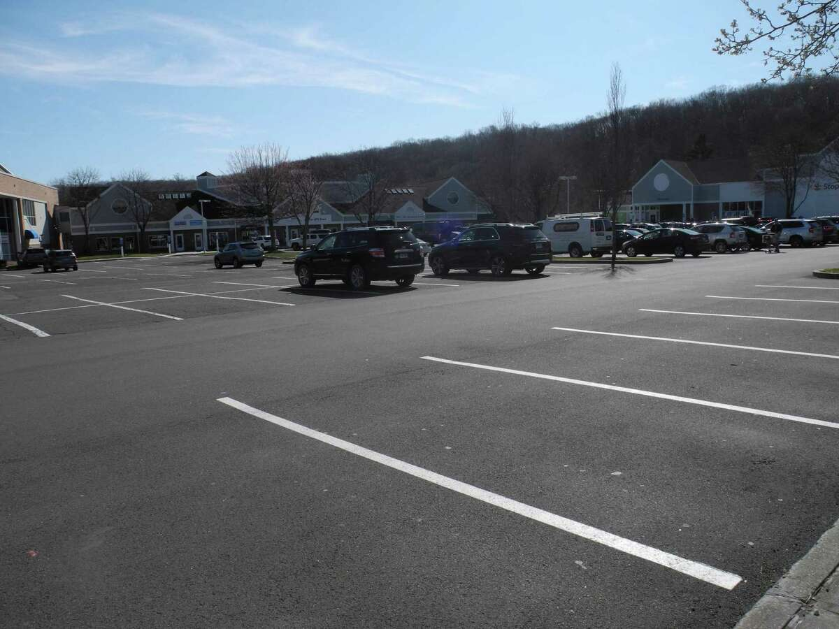 The River Park Plaza parking lot, where Stop & Shop is, has many fewer cars than normal on a Saturday afternoon.