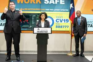 "Harris County Judge Lina Hidalgo begins a press conference announcing that the county will adopt a ""Stay Home, Work Safe"" strategy until April 3, Tuesday, March 24, 2020, at TranStar in Houston."